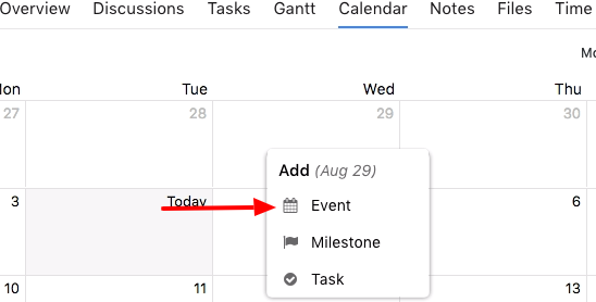 Adding events from calender section
