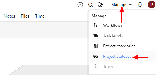 add project statuses