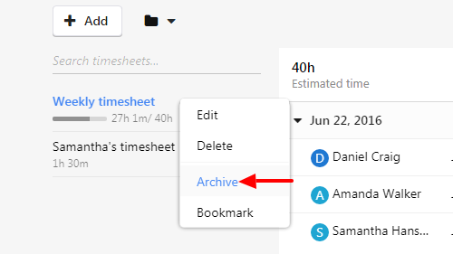 archive timesheet