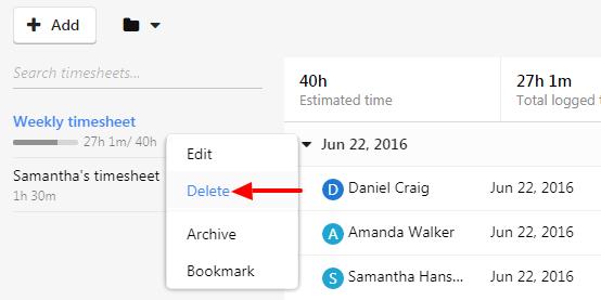 delete timesheet