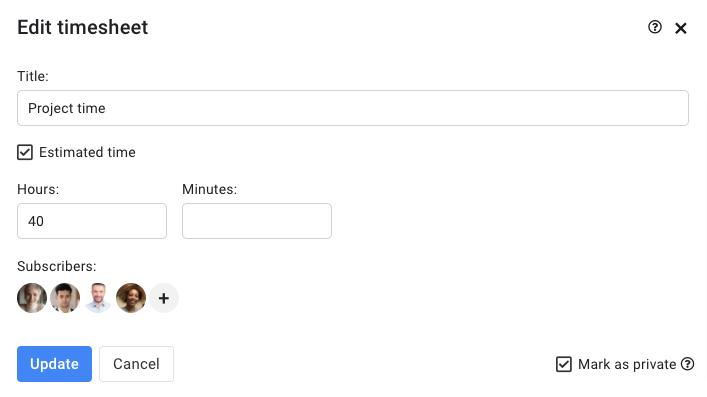edit timesheet window