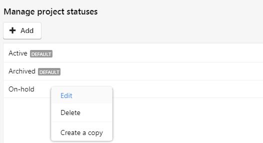 edit project status