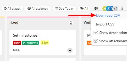 export CSV tasks
