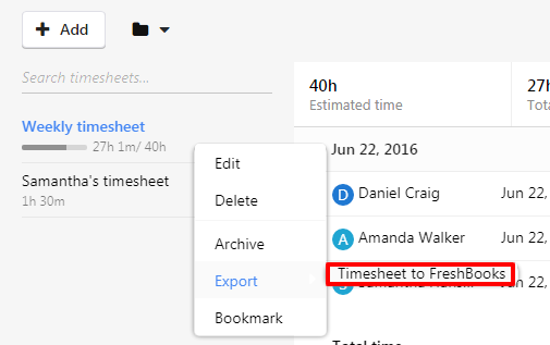 export to freshbooks