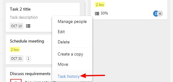 task history