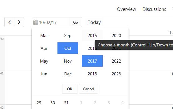 jump to calendar