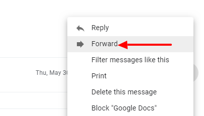 Forward via email in