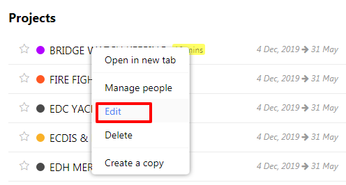 edit project tabs