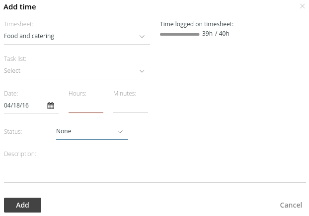 Add timesheet and time | ProofHub Help