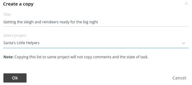 create copy tasklist