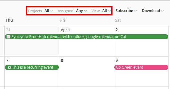 filters calendars