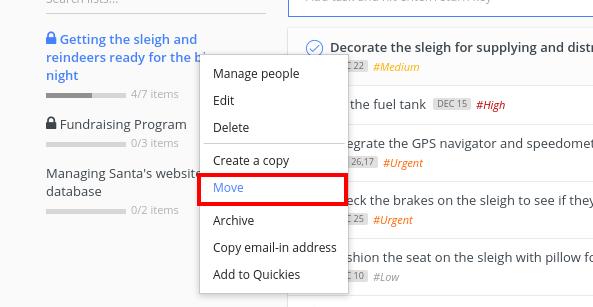 move task list