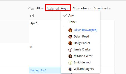 people filter calendar