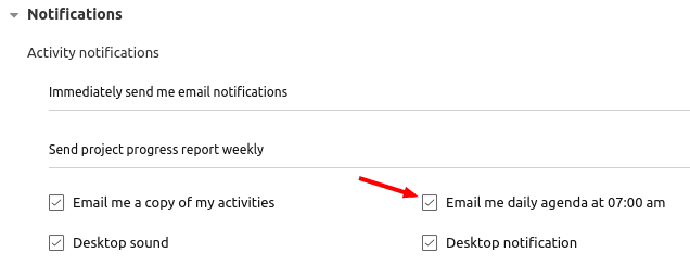 daily agenda email