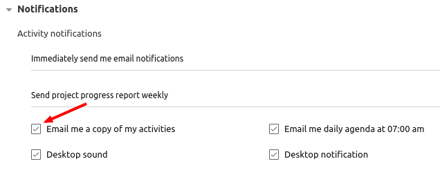 my activities emails