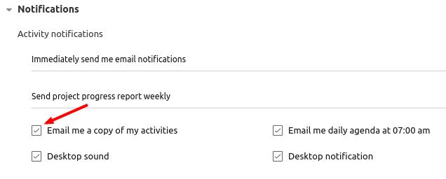 my activities emails