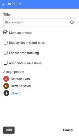 Add tasklist screen