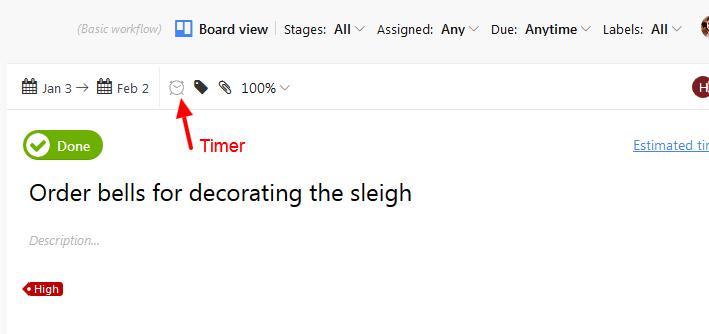 timer on tasks