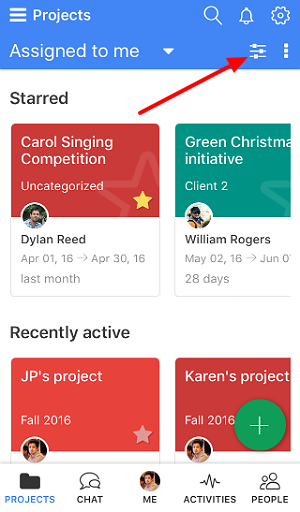 Filtering projects mobile
