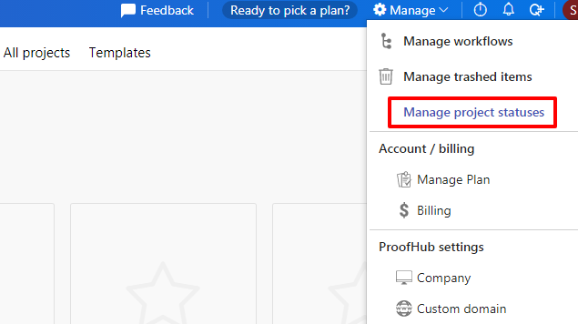 manage project statuses